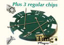 tour de magie : Magnetic poker chip Green, include 3 more regular