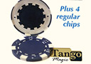tour de magie : Expanded shell poker chip Blue, one expanded shell