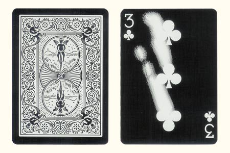 3 of Clubs with finger traces BICYCLE Tiger Card