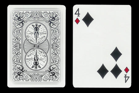 4 of Spades with 3 spots together BICYCLE Ghost