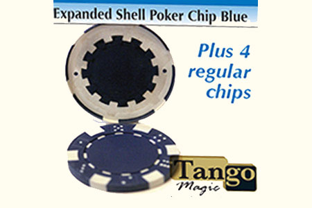 Expanded shell poker chip Blue, one expanded shell