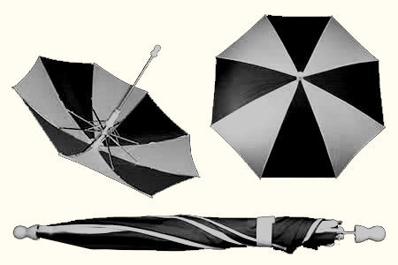 Black and White Small appearing umbrella - unit