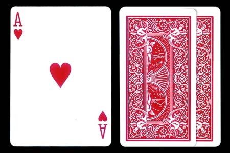 Carte Bicycle As de coeur tarot ruban 2 cartes