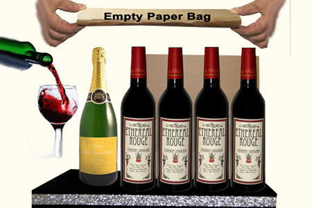 Appearing champagne and wine bottles from bag