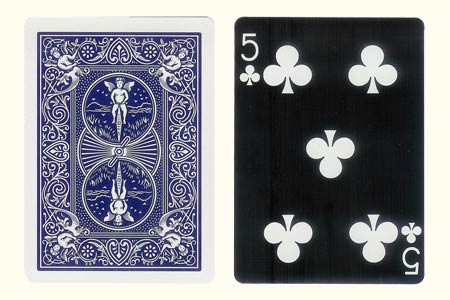 5 of Clubs BICYCLE Tiger Card with blue Bicycle Ba