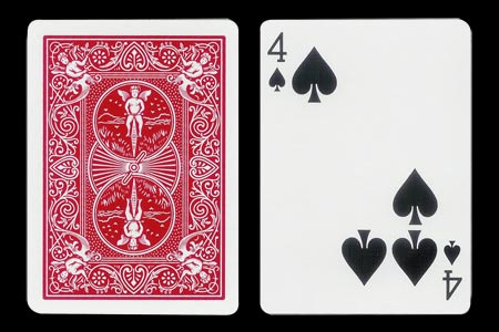 4 of Spades with 3 spots together BICYCLE Card