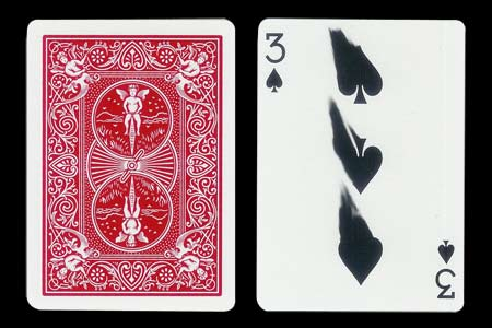 3 of Spades with finger traces BICYCLE Card