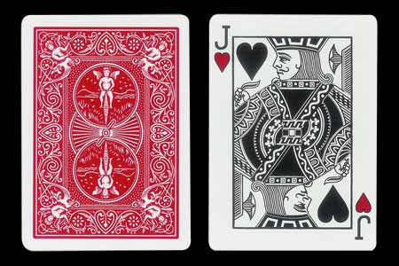 Red Back BICYCLE Card with Ghost Jack of Hearts Fa