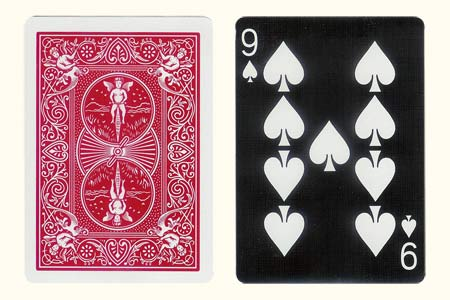 Red Back BICYCLE Card with Tiger 9 of Spades Face