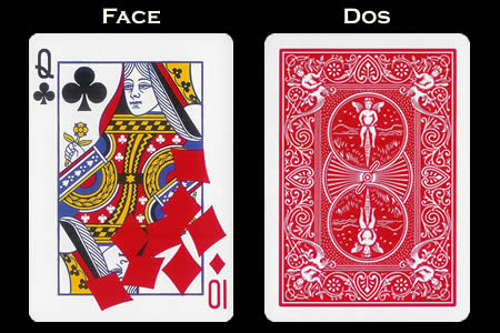 Queen of Clubs with fallen 10 of Diamonds BICYCLE