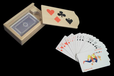 Wooden Card Case with deck